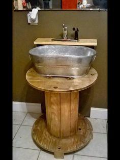 Wooden spool rustic sink DIY