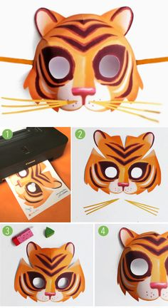 Printable tiger mask template by happythought.co.uk