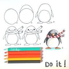 pinguin tekenen, stap voor stap