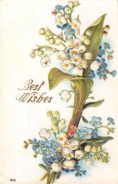 Bouquet of Lovely Lily of The Valley Forget Me Nots 1909 Gilded Postcard 636 | eBay