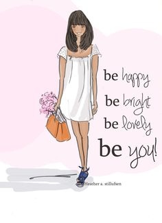 Wall Art for Women -Be Happy Be Bright Be You- Wall Art Print - Digital Art…