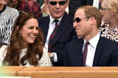 Pin for Later: 19 Times the Duke and Duchess of Cambridge Showed Love During Sporting Events  They cracked each other up during a July 2014 Wimbledon tennis match.