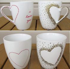 Tassen bemalen – 30 Ideen und Tipps zum Selbermachen Painting cups – 30 ideas and tips to make yourself Fun Crafts, Diy And Crafts, Crafts For Kids, Pottery Painting, Ceramic Painting, Mug Noel, Wallpaper Marvel, Diy Becher, Diy Mugs