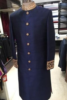 Indian Groom Wear - Blue Sherwani with Gold Embroidery   WedMeGood #wedmegood