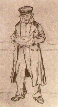 Vincent van Gogh (Dutch: 1853 – 1890) | Orphan Man with Cap, Eating (1882)