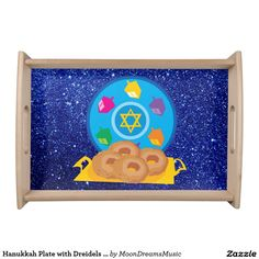 #HanukkahPlate with #Dreidels #BlueFauxGlitter #SmallServingTray by #MoonDreamsMusic #NaturalWood