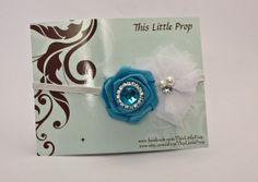 Baby/Girl's Headband - Teal and White with Rhinestone
