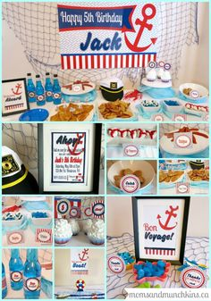 Sailor Birthday Party Ideas - Invites, Decorations, Food, Activities, Favors and more! #KidsParties