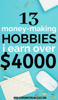If you need hobbies that make money, I've got your back! Here is a list of the best money-making hobbies. Both men and women can earn money from home in 2020. You can start your online business as a hobby and earn extra cash at home. This is so profitable. #moneymakinghobbies #hobbiesthatmakemoney #sidehustles #earnmoneyfromhome #sidejobstomakemoney