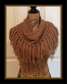 Free Infinity Scarf Crochet Pattern with Fringe© By Connie Hughes Designs© This scarf is super easy and perfect for a beginner! Crochet Scarf Easy, Crochet Scarves, Crochet Clothes, Free Crochet, Crochet Cowls, Crochet Fringe, Knitting Patterns Free, Crochet Patterns, Scarf Patterns