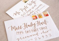 Wedding Calligraphy / Envelope Addressing - Copper Modern Calligraphy - Wedding Invitations