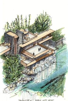Gallery of Classic Architecture Icons represented in axonometric view. - Gallery of Classic Architecture Icons represented in axonometric view – 9 – # axo - Sketchbook Architecture, Art Et Architecture, Classic Architecture, Organic Architecture, Futuristic Architecture, Contemporary Architecture, Axonometric View, Axonometric Drawing, Falling Water House