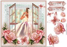 The Brides Window Wedding Morning topper on Craftsuprint designed by Julie Hutchings - The Brides Window Wedding Morning topper nice and quick with some decoupage and sentiment tags With Love and On your Wedding Day - Now available for download!