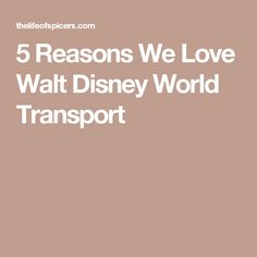 5 Reasons We Love Walt Disney World Transport