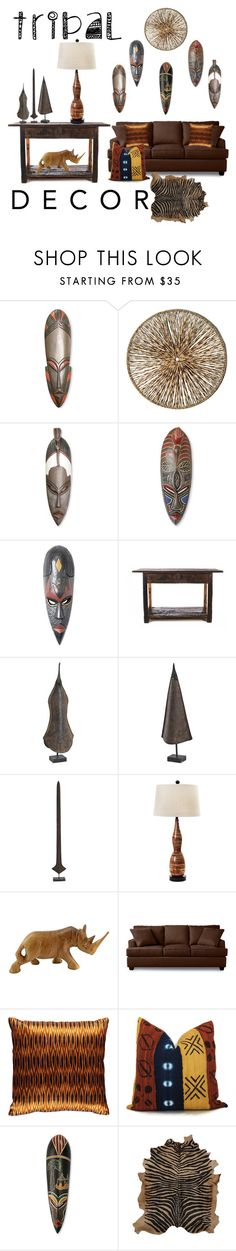 """Tribal Decor..."" by maryv-1 ❤ liked on Polyvore featuring interior, interiors, interior design, home, home decor, interior decorating, NOVICA, Palecek, Universal Lighting and Decor and Mariska Meijers"