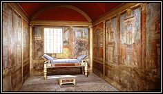 A CUBICULUM IN A VILLA AT BOSCOREALE, NEAR POMPEII  These frescoes are now in the Metropolitan Museum of Art, New York, set up as they were in the villa.