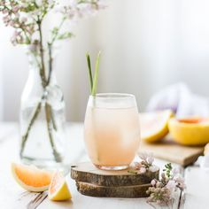 Grapefruit, Ginger and Lemongrass Sake Cocktail.