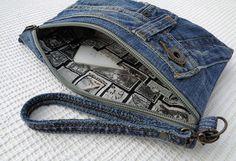 Jeans clutch wristlet make up cosmetic zipper bag by BukiBuki