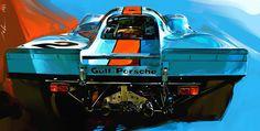1970 NO. 2 GULF PORSCHE 917 by John Krsteski
