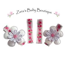 Pink Floral Hair Clips *  Baby Girl Clips * Daisy Hair Clips * Flower Hair Clips * Baby Hair Clips * Lace Hair Clips * Zara's Baby Boutique by ZarasBabyBoutique on Etsy