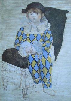 Paulo als Harlekin PABLO PICASSO Kunstdruck Reproduktion Surrealismus