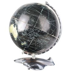 Art Deco Modernist  Costello World Globe Atlas with Aircraft  Base | From a unique collection of antique and modern globes at https://www.1stdibs.com/furniture/more-furniture-collectibles/globes/