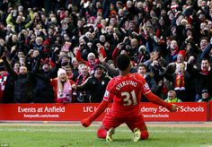 Raheem Sterling celebrates after putting Liverpool up against West Ham at Anfield. Raheem Sterling, Liverpool Fc, Football, Baseball Cards, My Love, School, West Ham, Sports, Bayern