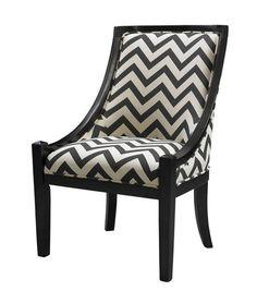 Carnegie Traditional Black Chevron Hardwoods Fabric Chair