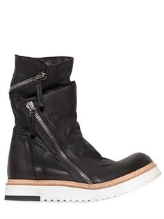 SMOOTH LEATHER DIAGONAL ZIP BOOTS