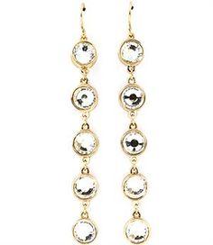 Circular Crystal Stone Linear Drop Earrings 3'L