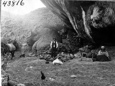 People and horses at Estacion Cagaragra, 20 miles east of Huallanca en route from Mito. 1922.