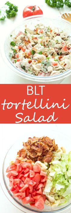 BLT Tortellini Salad - The perfect cold pasta salad that's great for any potluck, picnic, or your summer barbecues. This tortellini salad will be a huge hit whenever you take it! paleo dinner for a crowd Pasta Recipes, Cooking Recipes, Lunch Recipes, Summer Salads, Summer Lunches, Summer Pasta Salad, Soup And Salad, I Love Food, Pasta Dishes