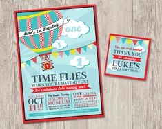 ► DIY printable Time Flies Hot Air Balloon invitations with FREE matching thank you tags!    { Time Flies! } For your little one who is