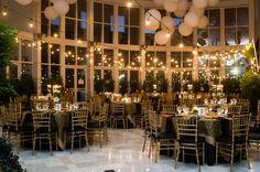 Tyler & Kathleen's Orlando Museum of Art Wedding | White Rose Entertainment | Captured by Belinda Photography | Reception | Market Lighting | Lanterns | gold | black