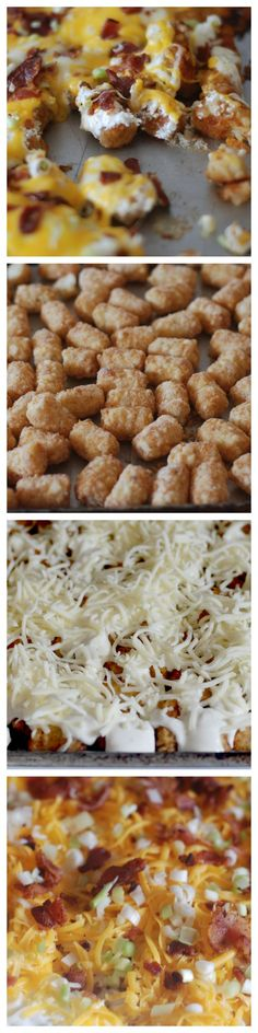 football finger foods for staying home to watch the game -Cheesy Bacon Ranch Tater Tots. A perfect side for your next BBQ.