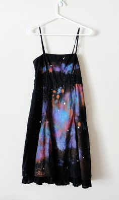 Upcycled Size 4 Black Dress With Galaxy Painting