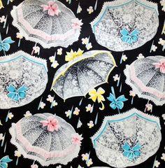 April Showers Black Pink Blue Umbrella   by HolidayKitschklatsch, $7.25