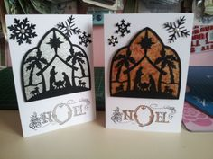 Getting ready for Christmas, cottage cuts die and gilding flakes on acetate