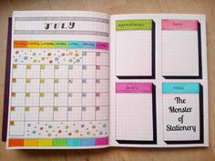 """440 Likes, 7 Comments - Stationery Monster (@themonsterofstationery) on Instagram: """"Hi everyone! Here is my #monthlylayout for #july  Enjoy! . . . #bujo #bulletjournal #bujojunkies…"""""""