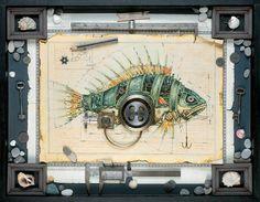 Рисунок рыба в стиле стимпанк