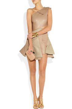 Asymmetric cutout satin and leather dress by Esteban Cortazar