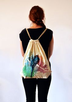 Welcome in my forest workshop! :) I create lovely illustrations and paintings on tote bags and backpacks. The paintings are handmade and indelible. Every single backpack is uniqe and original. Due to painting techniqe it might be slightly different, from the one in pictures.  - size: 37x45cm cm, (14.56 in x 17.71 in) and straps made of very thick twine - Material - 100% Natural cotton eco (150gsm) and textile paint. - Care - Machine wash in cold water on gentle cycle, or wash by hand. Do…