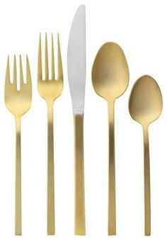 festliches essen goldenes Besteck-Set