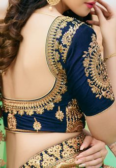 Featuring blue and turquoise designer party wear lehenga set with zari embroidery and it comes with beautiful net dupatta. Cutwork Blouse Designs, Wedding Saree Blouse Designs, Simple Blouse Designs, Stylish Blouse Design, Blouse Patterns, Marie, Blouse Neck, Sexy Blouse, Lehenga