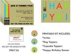 STAR WARS Birthday Party Invites Banner Cupcake by TiffanyandGirls