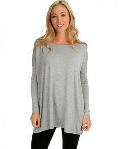 GRAY LYSS LOO LIGHTWEIGHT OVERSIZED LONG SLEEVE T-SHIRT TUNIC TOP DRESS FIT L/XL #LYSSLOO #Tunic