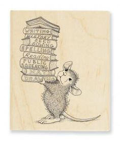 """Wooden Handle Rubber Stamp, """"Stack of Books"""""""