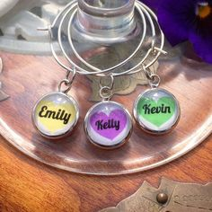A personal favourite from my Etsy shop https://www.etsy.com/uk/listing/523980499/custom-name-and-colour-wine-glass-charms