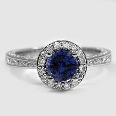 18K WHITE GOLD SAPPHIRE CONTESSA DIAMOND RING $2,915  PLATINUM CONTESSA DIAMOND RING  Set with 6mm Premium Blue Round Sri Lankan Sapphire  PRICE: $3,225