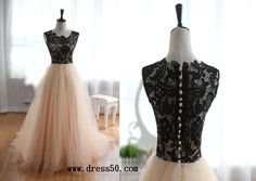 illusion Black lace Champagne tulle dress for Full or Tea length_make to order